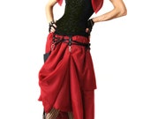 Steampunk Bustle Skirt Convertible Red Long With Matching Shrug - Victorian Burlesque Goth Costume Clothing