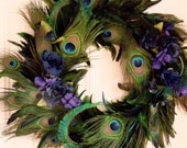 Peacock Feather Wreath Home Decor Blue Turquoise