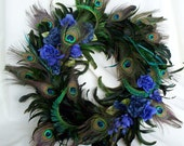 Peacock Feather Wreath Teal Royal Blue Home Decor Original Peacock design Last One Made in Michigan