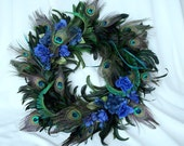 Peacock Home Decor Wreath Natural Feathers