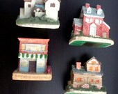 Vintage Christmas Village Houses Collectibles Set of 4 Home Decor, country shabby chic primitive styles Holiday decoration gifts