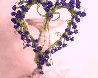 Heart Wreath Love is Blue........ Home Decor Unique gift under 20 country decor victorian sweet decorating window accen tsilk flowers