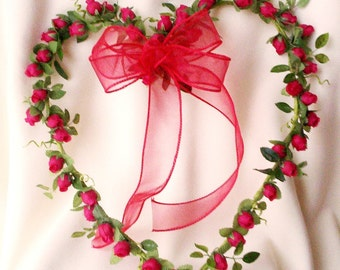 Home Decor Red Rose Heart Wreath Handmade Valentines Front door wreath decoration silk flowers under 50 Send flowers!