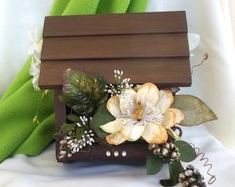Home Decor Birdhouse Floral Arrangement Chocolate Ivory Centerpiece