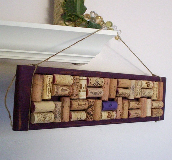 Cork Board kitchen Decoration upcycled wine corks Plum Vineyard Rustic Wine Lovers Home Decor under 30