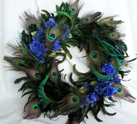 Peacock feather wreath teal royal blue home decor original for Home decorations peacock