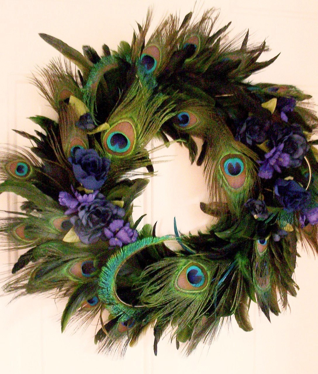 Peacock feather wreath home decor blue turquoise for Home decorations peacock