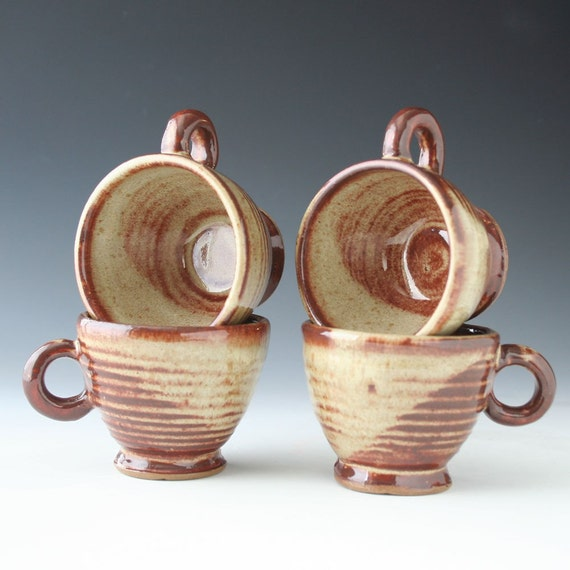 Espresso Cups, set of 4, orange, creamy white to brown glaze