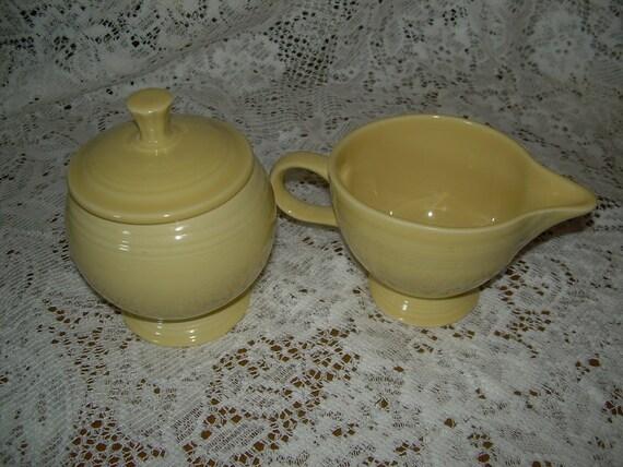 Fiesta Ware (Hard to Find) Round Sugar w/Lid & Creamer in Retired Yellow