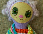 RESERVED for triumphantlyknit  Lagoon swampy gnome rag doll girl with the most amazing hair