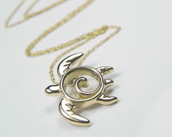 Sea Turtle Necklace 14kt Yellow Gold Turtle Pendant - Unique Turtle Fine Jewelry - Ocean Inspired Nautical Sea Life Gold Necklace