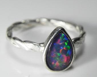 Sterling Silver Opal Ring - Genuine Opal Stack Ring - Real Black Opal Triplet Jewelry - Sterling Silver AAA Opal Triplet- Fiery Rainbow