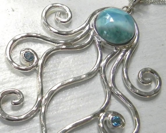 Octopus Necklace - Larimar Octopus Pendant - Statement Necklace - Unique Sterling Silver Octopus Jewelry - Ocean Blue