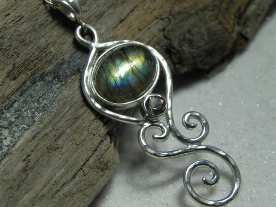 NECKLACE - Labradorite Sterling Silver Spiral Swirls Necklace - Coffee Brown Smokey Quartz Teal Green Labradorite Necklace - Fall Fashion