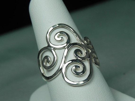 RING - Swirl Ring - Spiral Ring - Wave Ring - Sterling Silver Spiral Swirl Ring - Unique Handcrafted Silver Artisan Swirls Ring