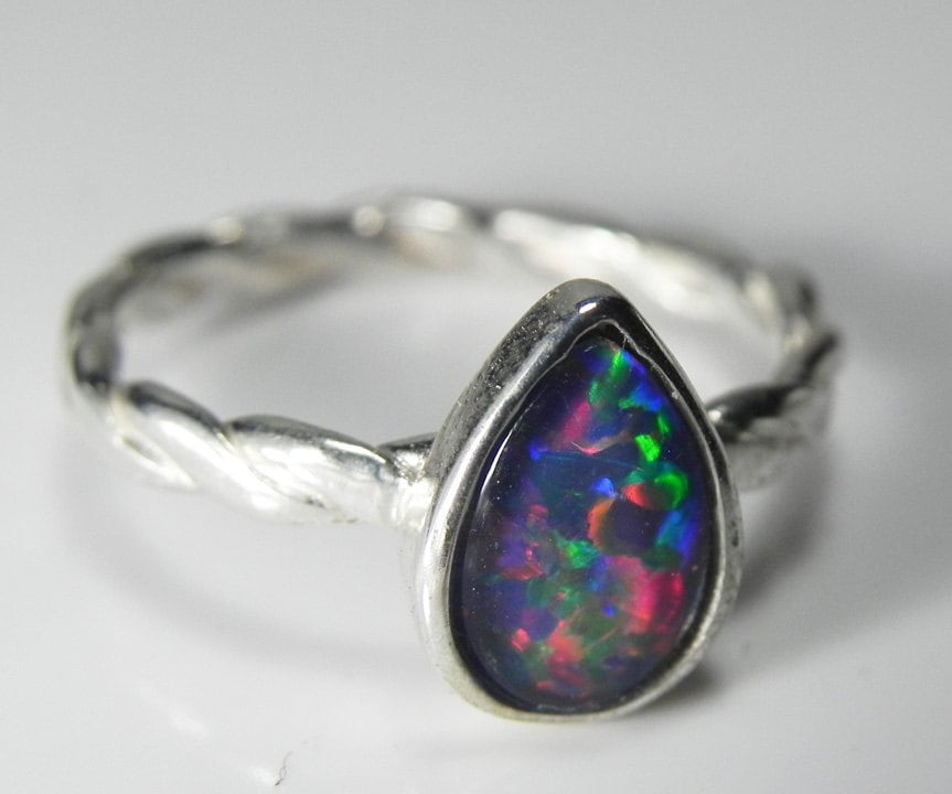 sterling silver opal ring genuine opal stack ring real