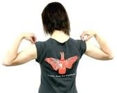 Happy Rabbit / cap sleeve t-shirt / asphalt grey / large