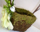 Moss  Flower Girl Wedding  Basket, Wedding Love Birds, Woodland Rose Flower Girl Basket