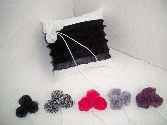 White & Black Layered Wedding Pillow Your Choice Chiffon Roses