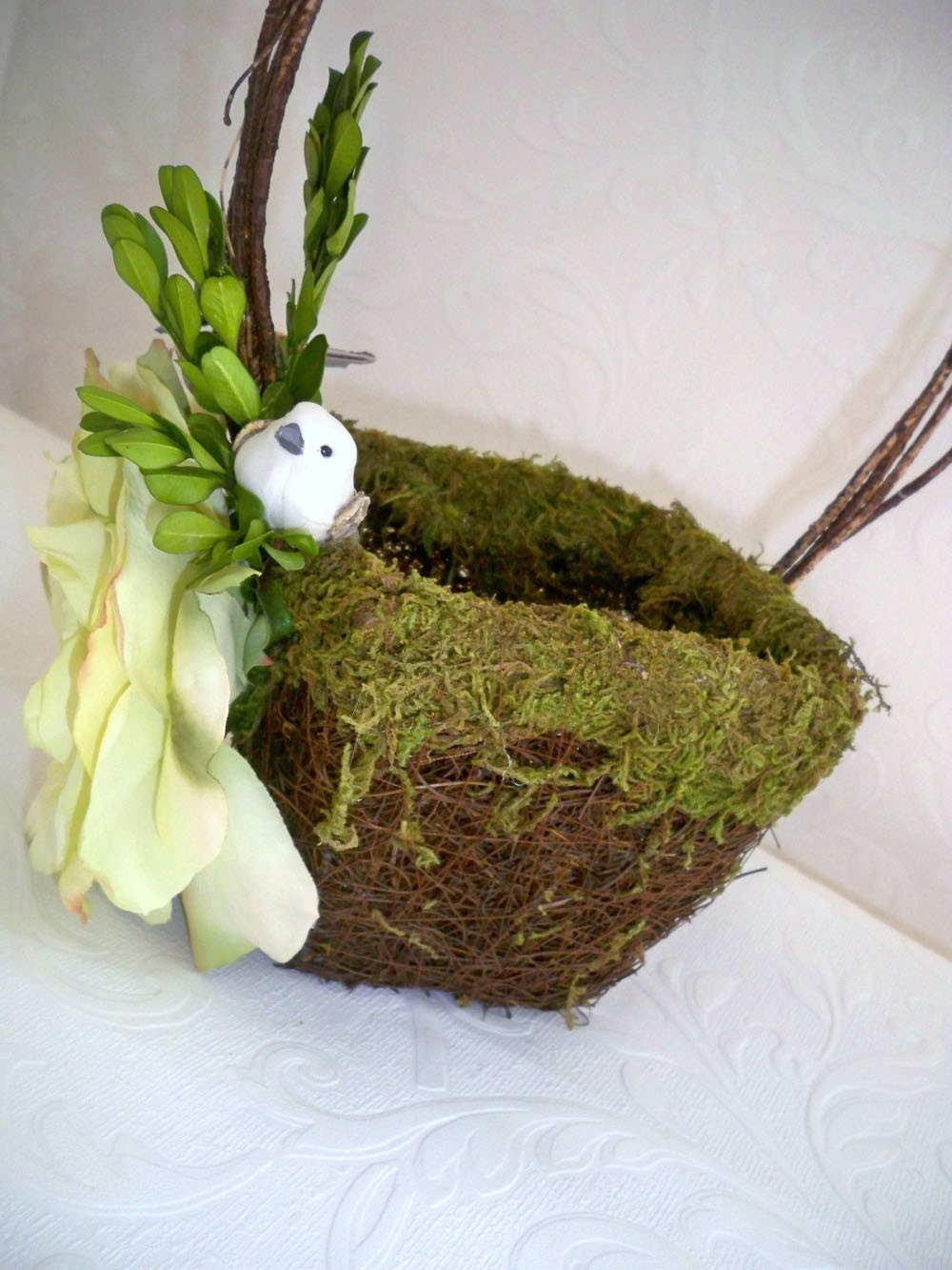 Flower Girl Basket Moss : Moss flower girl wedding basket love birds
