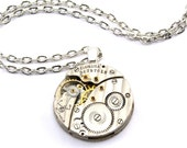 Clockwork Steampunk Necklace - Vintage Elgin Scalloped Watch Movement Clockwork Design --- Artfully presented in a Drawstring Pouch - Securely Packaged and PROMPTLY SHIPPED --- SteampunkJewelry By London Particulars