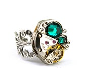 Steampunk Ring - GORGEOUS Clockwork Design & Dark Emerald Green Swarovski Crystals - PROMPTLY SHIPPED - Steampunk Jewelry London Particulars
