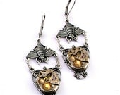 Steampunk Earrings - Vintage Clockwork Honey Bumble Bee Design & Golden Yellow Topaz Swarovski Crystals - Steampunk Jewelry Promptly Shipped