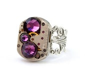 Steampunk Ring - Vintage Clockwork Boldly bejeweled With Beautiful Purple Amethyst Swarovski Crystals - Steampunk Jewellery PROMPTLY SHIPPED