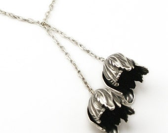 Tulip Necklace Neo Victorian Flower Pendant Lariat Look Art Deco Silver Tulip Pendant Silver plated London Particulars