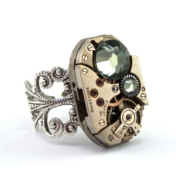 The Quintessential Steampunk Watch Movement Ring - Boldly Bejeweled with Black Diamond Swarovski Crystals --- Artfully presented in a Drawstring Pouch - Securely Packaged and PROMPTLY SHIPPED --- SteampunkJewelry By London Particulars