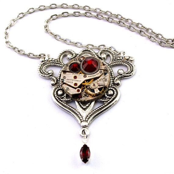 Steampunk Necklace - Gorgeous Clockwork Design with Siam Red Swarovski Crystals  PROMPTLY SHIPPED - Steampunk Jewelry By London Particulars