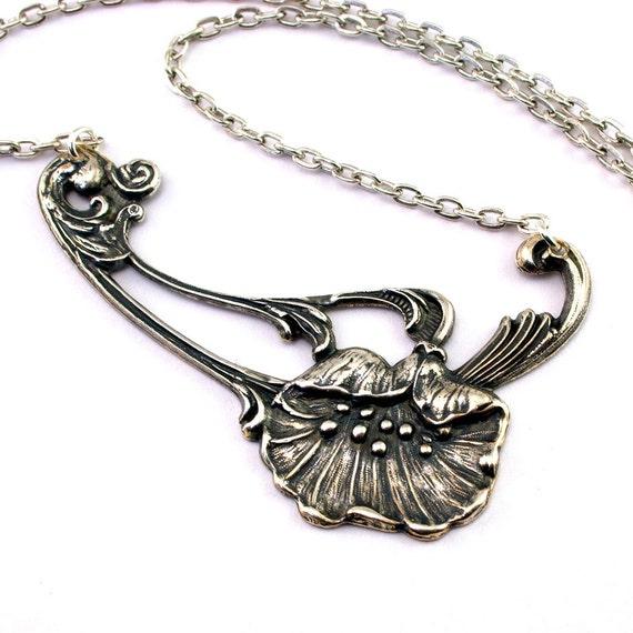 Poppy Necklace Art Nouveau Flower Art Deco Floral Mucha Style Statement Necklace Poppy Pendant Silver plated