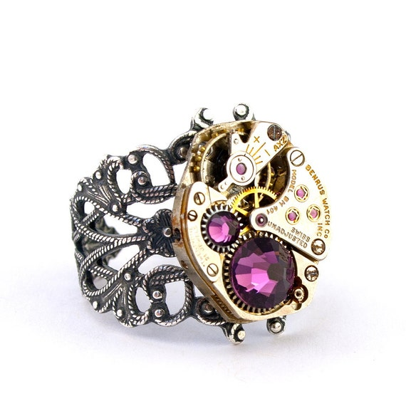 Steampunk Ring - Gorgeous Clockwork Design with Purple Amethyst Swarovski Crystals PROMPTLY SHIPPED - Steampunk Jewelry