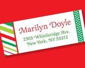 tReNdY Christmas Stripes PERSONALIZED Address Labels Adhesive Sticker Sheet
