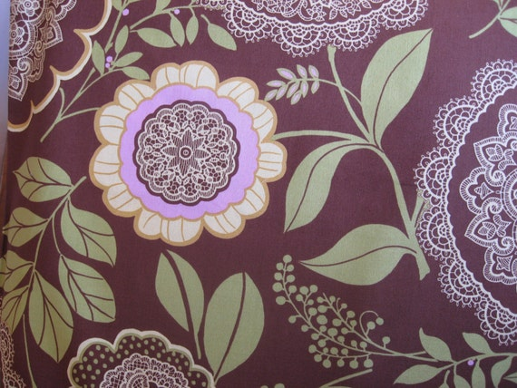 SALE Amy Butler Fabric by the Lotus Lacework Brown one (1) yard listing
