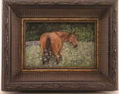 Horse Portrait, horse memorial painting, horse in field,framed horse portrait, brown