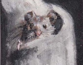 Mouse ACEO, 2-1/2 x 3-1/2 portrait , magnet, aceo on easel ,collectible small art,art trading card,,art trading card,collectible art, mouse