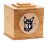 Tiered Pet Memorial Box (Oak, cherry, hardwood) single pet memorial urn pet portrait on hardwood urn custom made pet urn