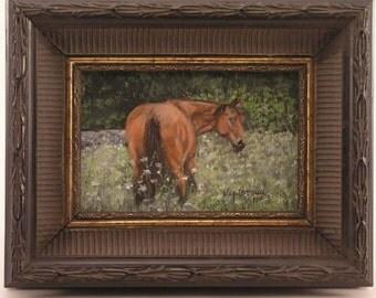 Pet portrait, Horse Portrait, horse memorial painting, horse in field,framed horse portrait, brown