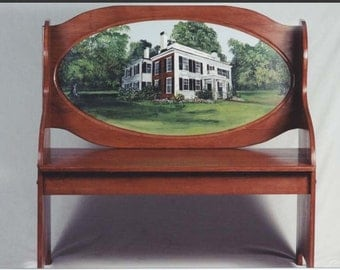 Custom made Cherry Bench, handpainted handmade bench, custom scene on bench, elegant furniture