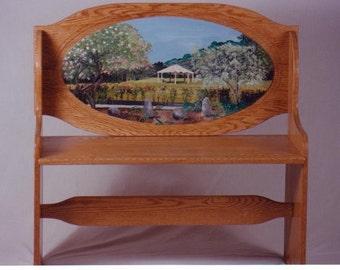 Custom designed solid oak bench,  handpainted handmade bench, custom scene on bench, elegant furniture