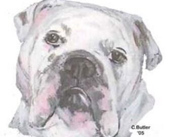 Custom Bulldog Pet Treat Jar, handpainted pet treat jar, glass jar, portrait of pet on  treat jar, white builldog