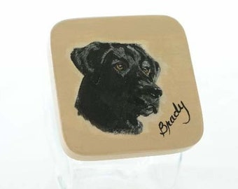 Custom Black Lab  Pet Treat Jar, handpainted pet treat jar, custom  airtight lid for pet treat jar, glass jar, portrait of pet on  treat jar