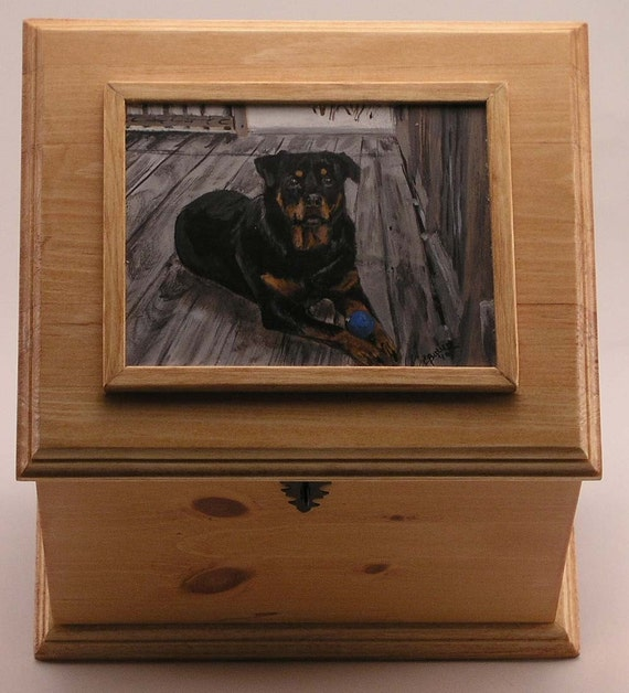 Pet urn, memorial box, large pet urn, custom portrait of pet on memorial box, oversized urn to hold pet leash pet toy