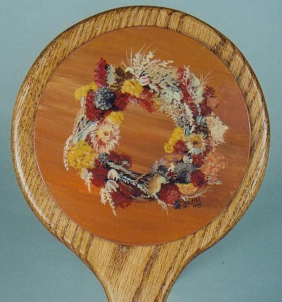 handmade solid oak hand mirror, 6-in. dia x 12 in., oak hand mirror, acrylic painting on back, brown, fall colors