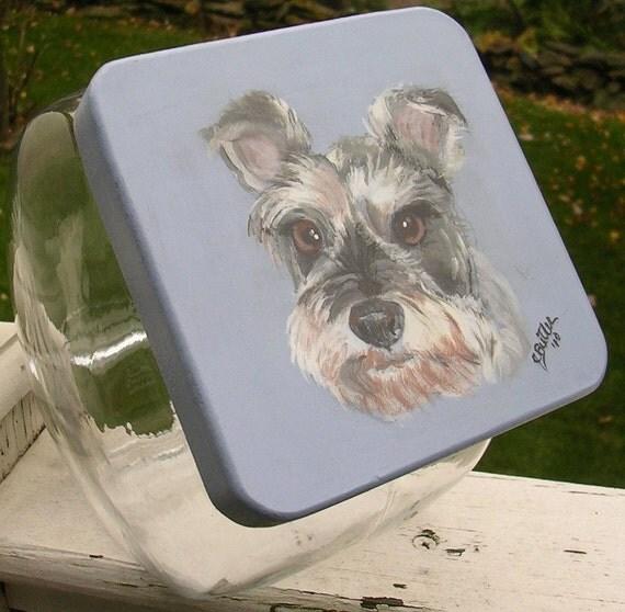 Pet Treat Jar, Schnauzer , handpainted pet treat jar, airtight lid for pet treat jar, glass jar, portrait of pet on pet treat jar
