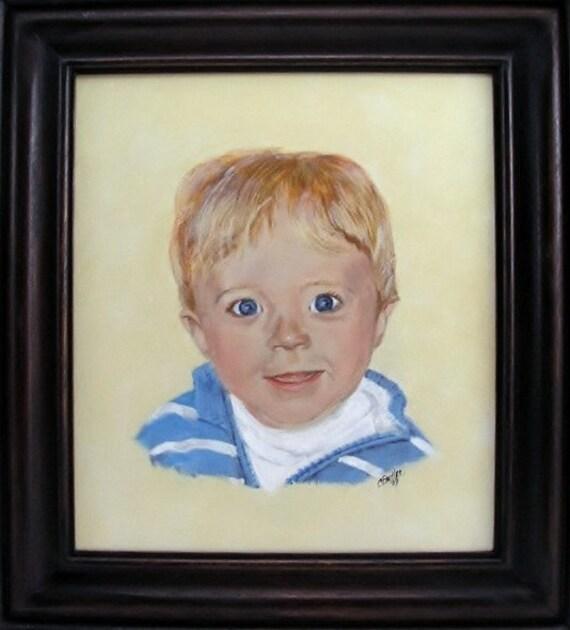 Child's portrait, Framed Portrait, children's portrait, pet portrait, handmade frame, many sized portraits