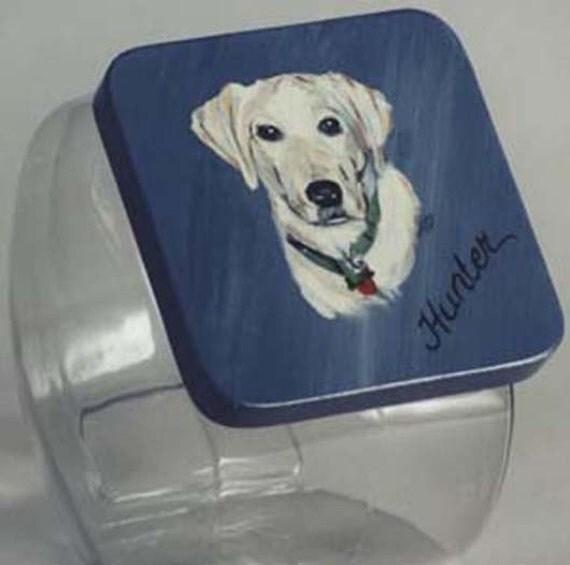 Custom Yellow Lab Pet Treat Jar, handpainted pet treat jar, custom  pet treat jar, glass jar, portrait of pet on  treat jar