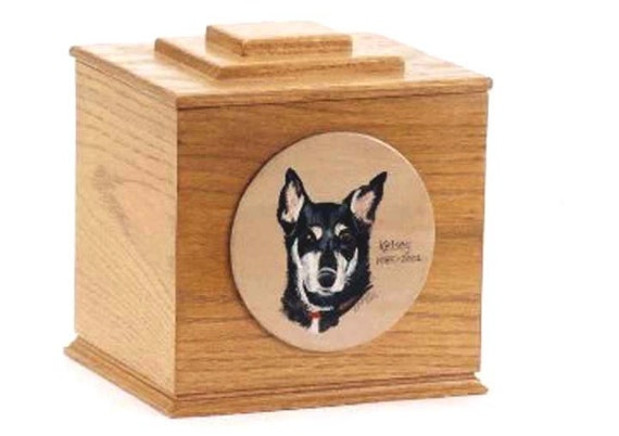 Pet Memorial Box (Oak, cherry, hardwood), single pet memorial urn ,pet portrait on hardwood urn, custom made pet urn