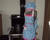 Girls Apron, Chefs Hat and Mitt  Malt shop   reversible  makes a terrific gift with a first cook book